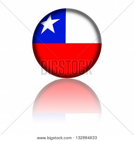 Chile Flag Sphere 3D Rendering