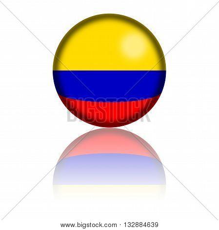 Colombia Flag Sphere 3D Rendering