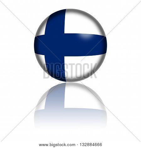 Finland Flag Sphere 3D Rendering
