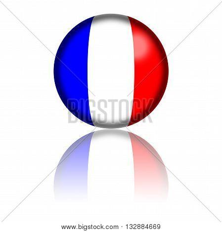 France Flag Sphere 3D Rendering