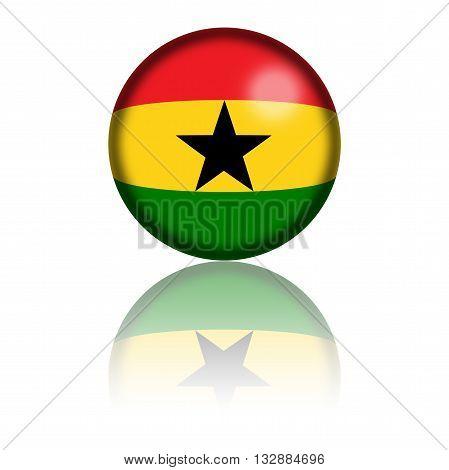 Ghana Flag Sphere 3D Rendering