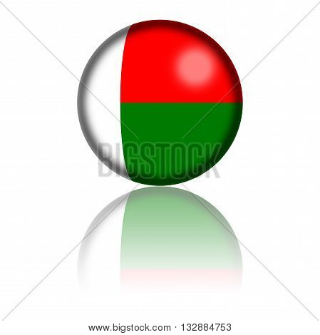 Madagascar Flag Sphere 3D Rendering