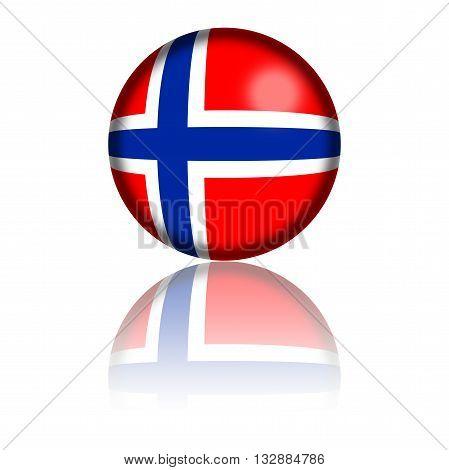 Norway Flag Sphere 3D Rendering