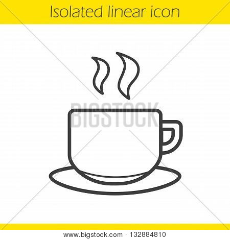 Cup linear icon. Hot steamy coffee cup thin line illustration. Tea cup contour symbol. Vector isolated outline drawing