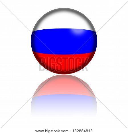 Russia Flag Sphere 3D Rendering
