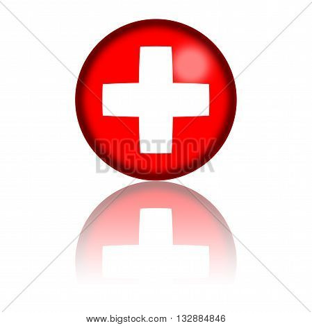 Switzerland Flag Sphere 3D Rendering