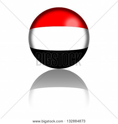 Yemen Flag Sphere 3D Rendering