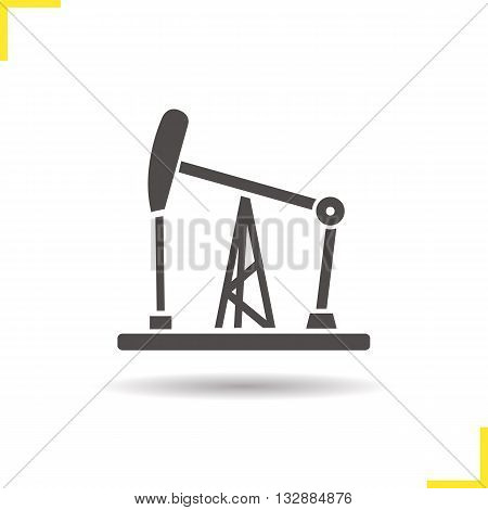 Oil pumpjack icon. Drop shadow silhouette symbol. Gas industry tower. Vector isolated illustration