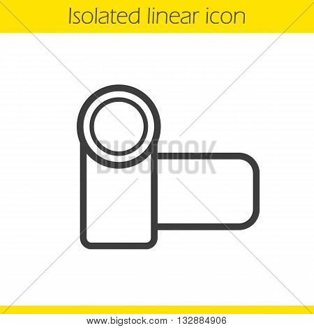 Video camera linear icon. Director and photographer equipment thin line illustration. Camera contour symbol. Vector isolated outline drawing