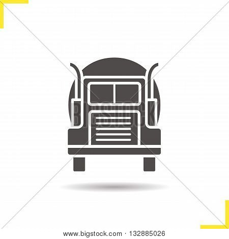 Gasoline tank truck icon. Drop shadow lorry silhouette symbol. Oil transportation vessel. Vector isolated illustration