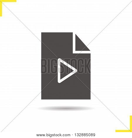 Multimedia file icon. Drop shadow playlist silhouette symbol. Computer interface icon. Audio file. Vector isolated illustration