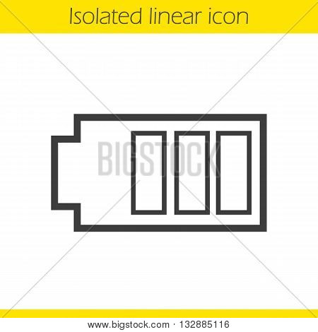 Battery linear icon. Charging smartphone indicator thin line illustration. Battery charge contour symbol. Vector isolated outline drawing