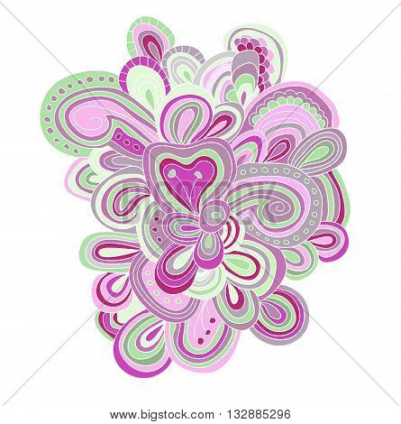 Vector lined pattern in green and violet colors. Hand drawn tracery.