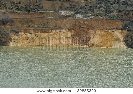 Artificial lake created by sinking old quartz sand mine