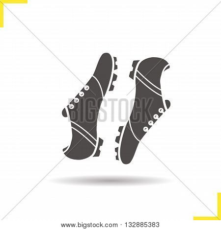 Soccer boots icon. Drop shadow football boots silhouette symbol. Football player's footwear. Modern sportswear. Soccer boots logo concept. Vector football boots isolated illustration