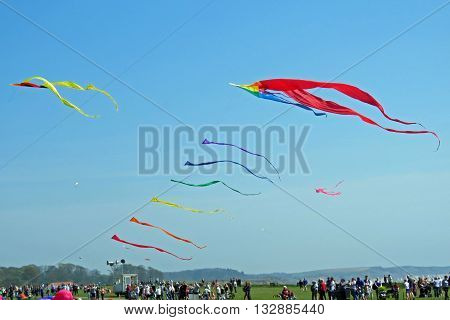 A Kite Festival at Bridlington East Yorkshire. Kites flying on Bridlington cliff top at the first Kite Festival on 8th May 2016