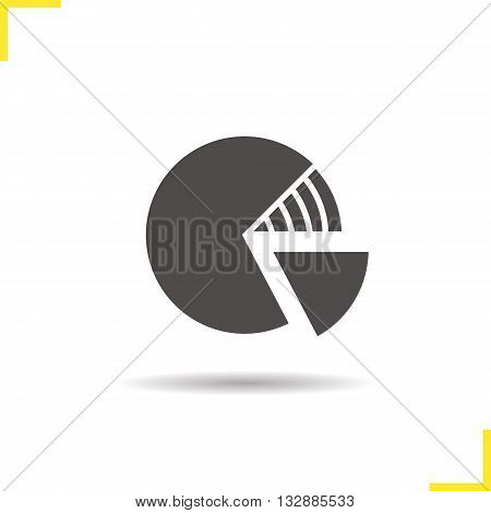 Diagram icon. Drop shadow graph silhouette symbol. Financial business graph model. Percentage diagram logo concept. Vector round isolated illustration