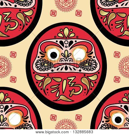 Daruma doll seamless pattern. Texture for scrapbooking wrapping paper textiles web page textile wallpapers surface design fashion