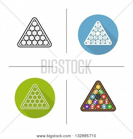 Billiard balls rack flat design, linear and color icons set. Sports equipment. Contour and long shadow symbols. Billiard balls rack logo concepts. Isolated vector illustrations. Infographic elements