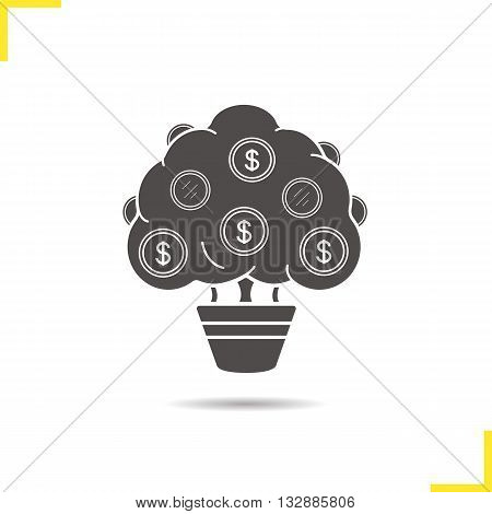 Money tree icon. Drop shadow economics silhouette symbol. Finance and economics. Vector isolated illustration