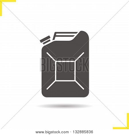 Pertol jerrycan icon. Drop shadow gasoline silhouette symbol. Benzine canister. Vector isolated illustration