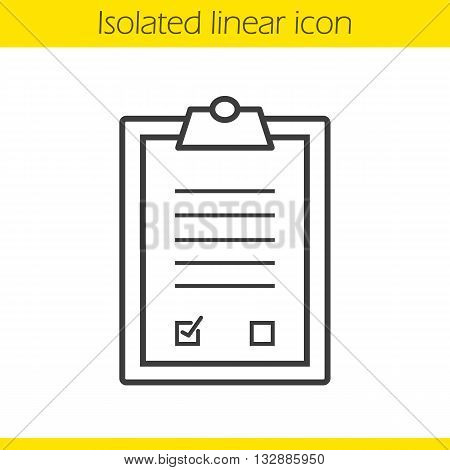 Agreement linear icon. Signed official document. Business paper with signature thin line illustration. Contract contour symbol. Vector isolated outline drawing