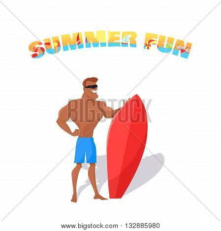 Summer fun banner concept design flat style. Young happy handsome guy with a surfboard isolated on white backfround. Summer vacation holiday and surfboard sport lifestyle, vector illustration