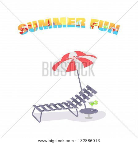 Chaise lounge with an umbrella isolated on white background. Vacation summer leisure, chair with parasol, rest on chaise-longue icon, paradise summer fun. Comfort flat bed element. Vector illustration