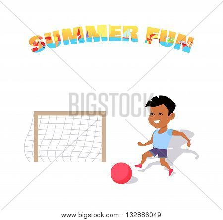 Happy boy play with a ball. Summer fun banner flat style. Boy playing with a ball in soccer summer fun. Happy sport kid and activity play in soccer, running and playing football. Vector illustration