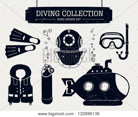 Hand drawn diving collection of elements. Scuba mask helmet oxygen cylinder life jacket bathyscaphe and fins.