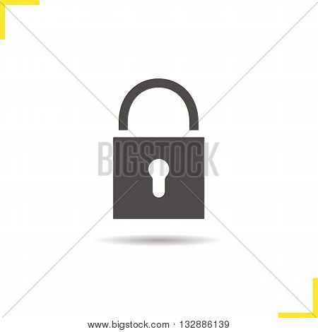 Lock icon. Isolated padlock illustration. Drop shadow locked icon. Security device icon. Lock logo concept. Vector padlock. Silhouette door lock symbol. Padlock icon. Isolated locked illustration