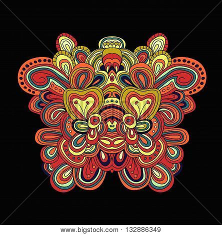 Colored lined pattern with many details. Hand drawn tracery. Cinco de mayo. Ethnic background.