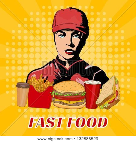 Fast food girl in a cap fast food working staff pop art style vector