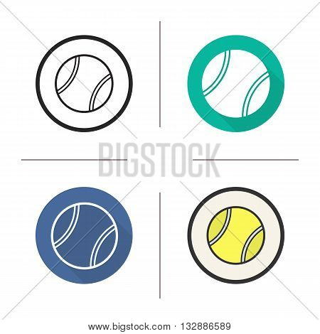 Tennis ball flat design, linear and color icons set. Sport equipment. Tennis. Contour and long shadow symbols. Tennis ball logo concepts. Isolated vector illustrations. Infographic elements