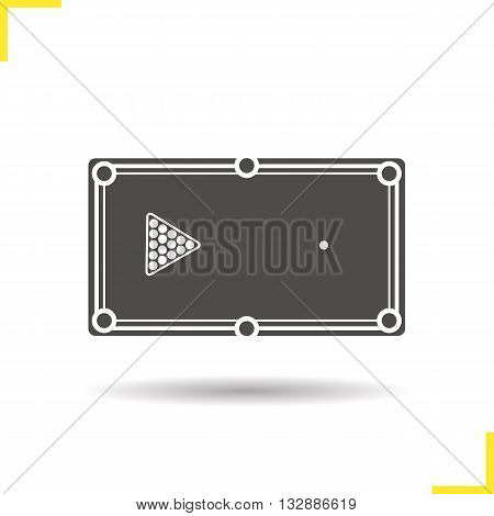 Billiard table icon. Drop shadow billiard silhouette symbol. Sports equipment. Pool ball rack. Billiard game table logo concept. Vector billiard isolated illustration