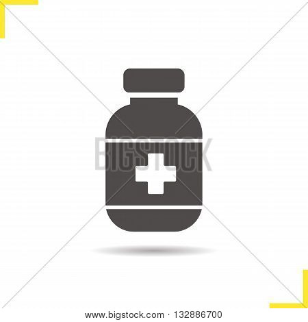 Painkiller icon. Drop shadow pills bottle silhouette symbol. Medicine. Drugstore item. Vector isolated illustration