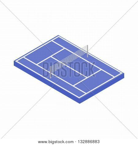 Blue tennis court icon in isometric 3d style on a white background