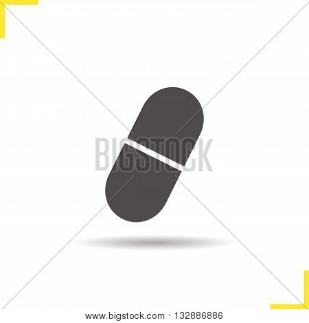 Pill icon. Drop shadow aspirin capsule silhouette symbol. Drugstore item. Medication. Vector isolated illustration