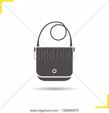 Men's purse icon. Drop shadow handbag silhouette symbol. Male accessory. Vector isolated illustration