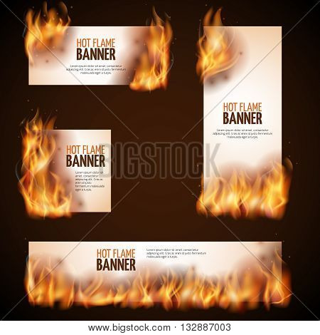 Burning campfire with hot flame vector banners. Paper advertising burn, fire hot advertising illustration