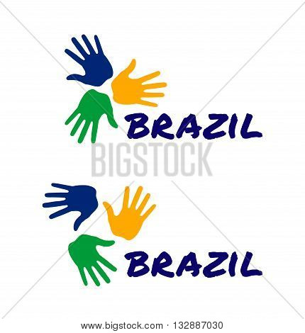 Set of colorful three hand print icon using Brazil flag colors. Vector illustration.