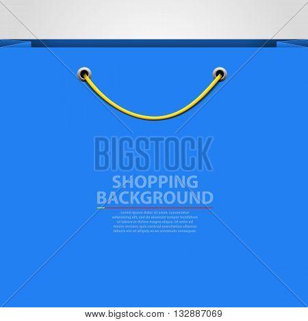 Empty bag background. Shopping concept. Vector illustration