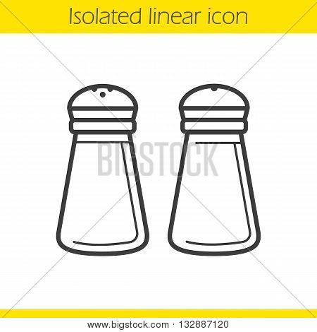 Salt and pepper shakers linear icon. Kitchenware. Cooking instruments thin line illustration. Salt and pepper shakers contour symbol. Vector isolated outline drawing