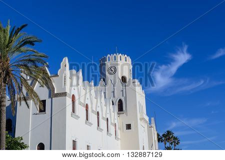 Kos town courthouse under the summer clear blue sky.