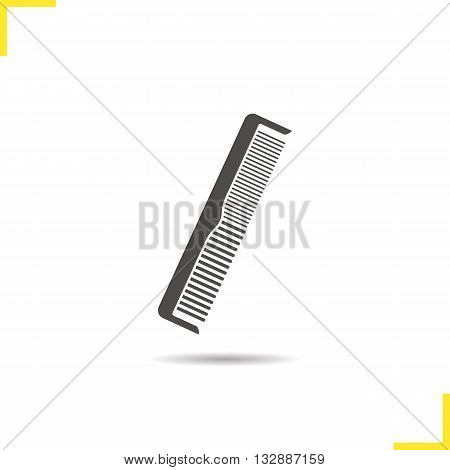 Comb icon. Drop shadow hair brush silhouette symbol. Men and women comb. Vector isolated illustration