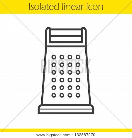 Grater linear icon. Cooking instrument. Kitchen utensil thin line illustration. Stainless grater contour symbol. Vector isolated outline drawing