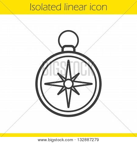 Compass linear icon. Pocket compass thin line illustration. Navigation and orientation instrument. Contour symbol. Compass logo concept. Vector isolated outline drawing