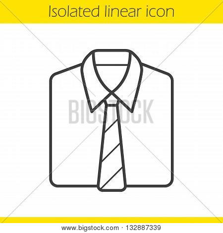 Shirt and tie linear icon. Formal men's clothes. Uniform thin line illustration. Shirt and tie contour symbol. Vector isolated outline drawing