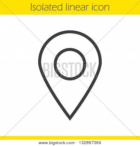 Pinpointer linear icon. Location map pointer thin line illustration. Geolocation mark contour symbol. Vector isolated outline drawing