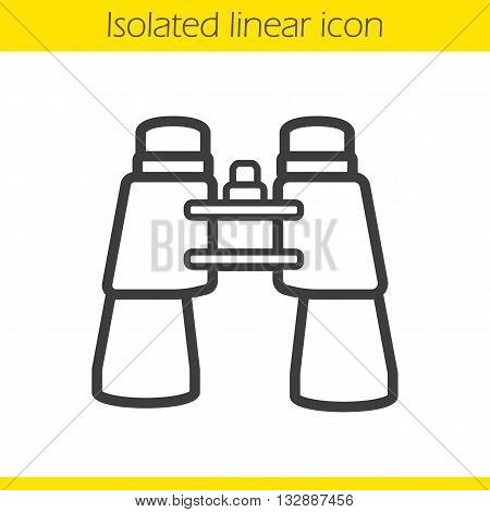 Binoculars linear icon. Surveillance instrument. Tourist's equipment thin line illustration. Binoculars contour symbol. Vector isolated outline drawing